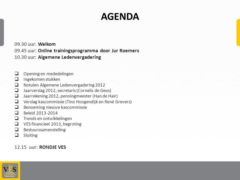 Agenda 09.30 uur: Welkom. 09.45 uur: Online trainingsprogramma door Jur Roemers. 10.30 uur: Algemene Ledenvergadering.