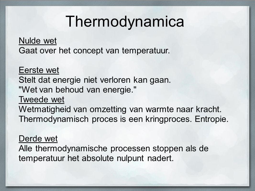 Thermodynamica Nulde wet Gaat over het concept van temperatuur.