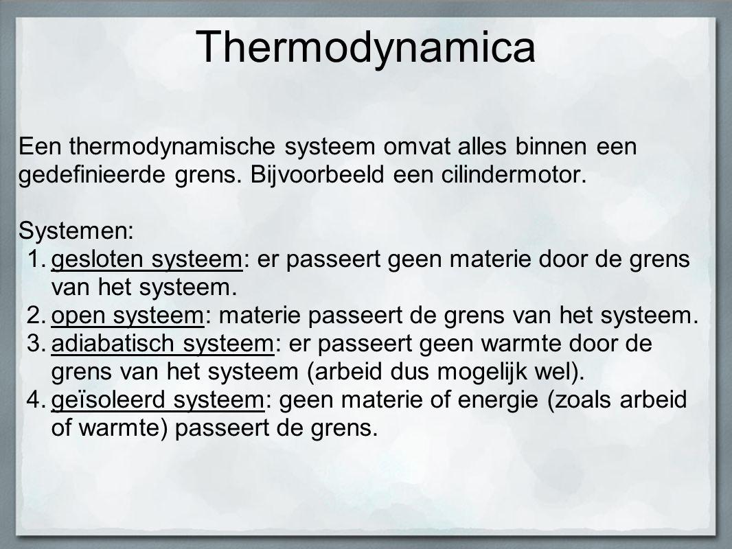 Thermodynamica Een thermodynamische systeem omvat alles binnen een gedefinieerde grens. Bijvoorbeeld een cilindermotor.