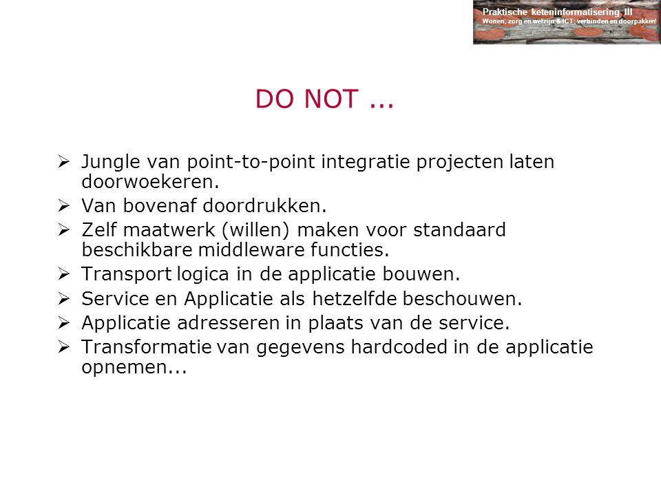 DO NOT ... Jungle van point-to-point integratie projecten laten doorwoekeren. Van bovenaf doordrukken.