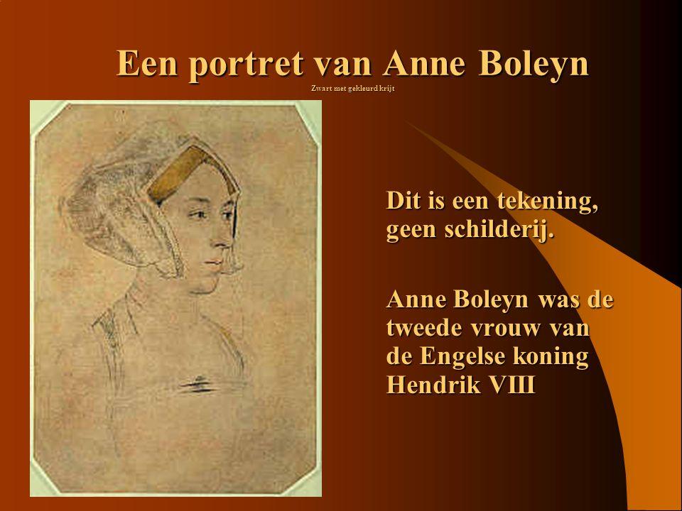 Een portret van Anne Boleyn Zwart met gekleurd krijt