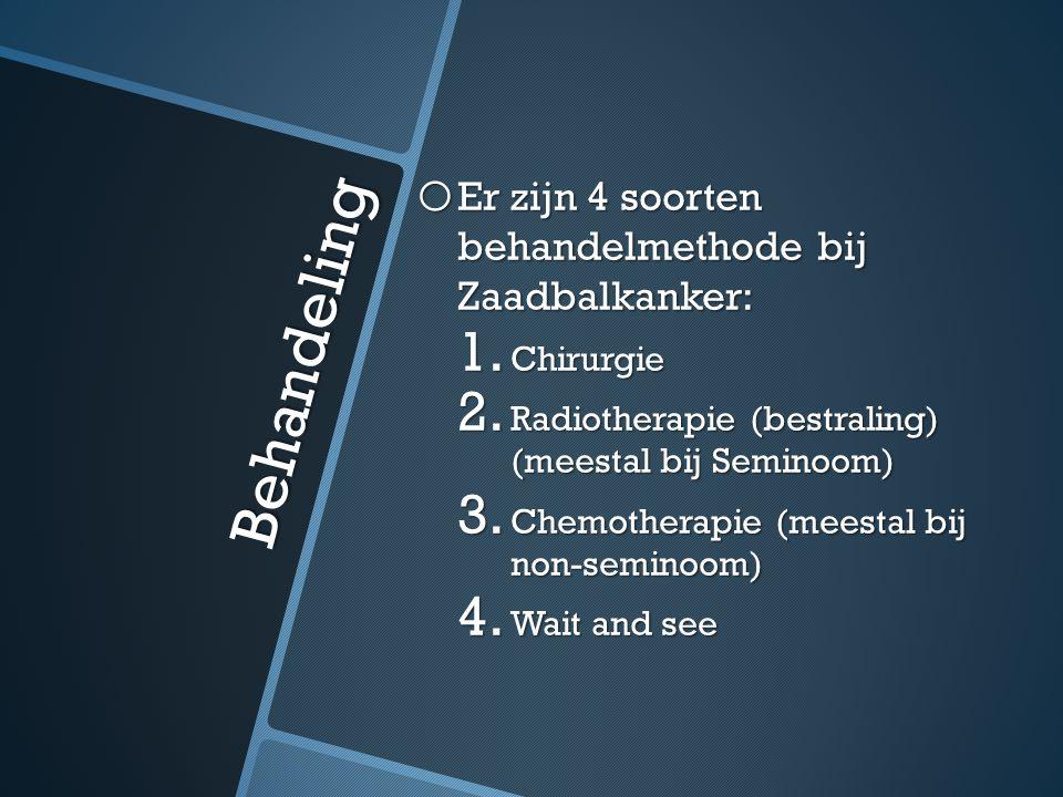 Behandeling Er zijn 4 soorten behandelmethode bij Zaadbalkanker: