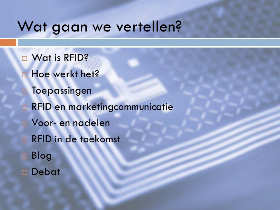 Wat gaan we vertellen Wat is RFID Hoe werkt het Toepassingen