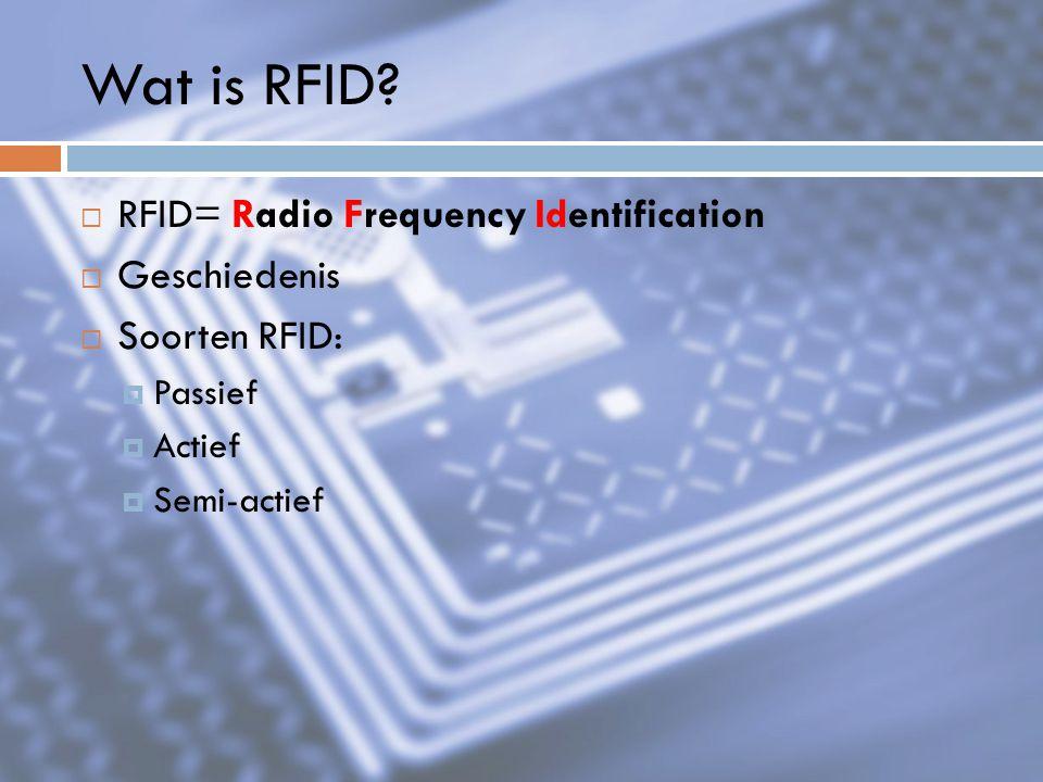 Wat is RFID RFID= Radio Frequency Identification Geschiedenis