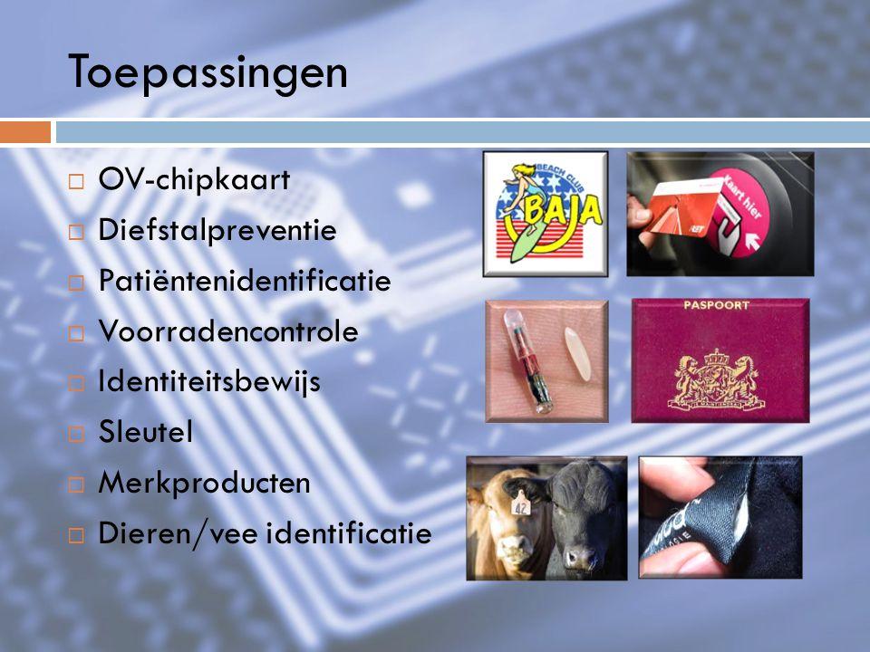 Toepassingen OV-chipkaart Diefstalpreventie Patiëntenidentificatie