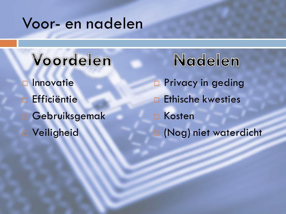 Voordelen Nadelen Voor- en nadelen Innovatie Efficiëntie Gebruiksgemak