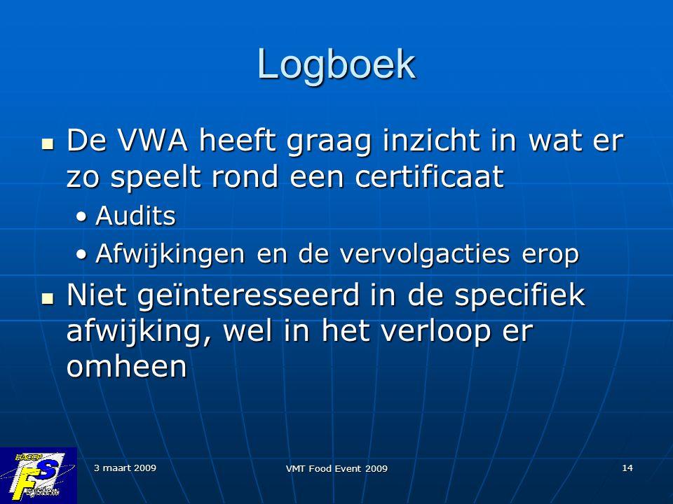 Logboek De VWA heeft graag inzicht in wat er zo speelt rond een certificaat. Audits. Afwijkingen en de vervolgacties erop.