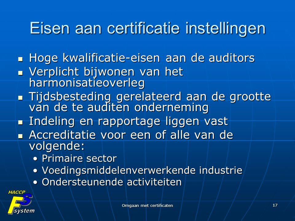 Eisen aan certificatie instellingen