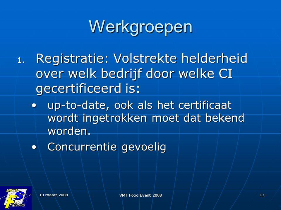 Werkgroepen Registratie: Volstrekte helderheid over welk bedrijf door welke CI gecertificeerd is: