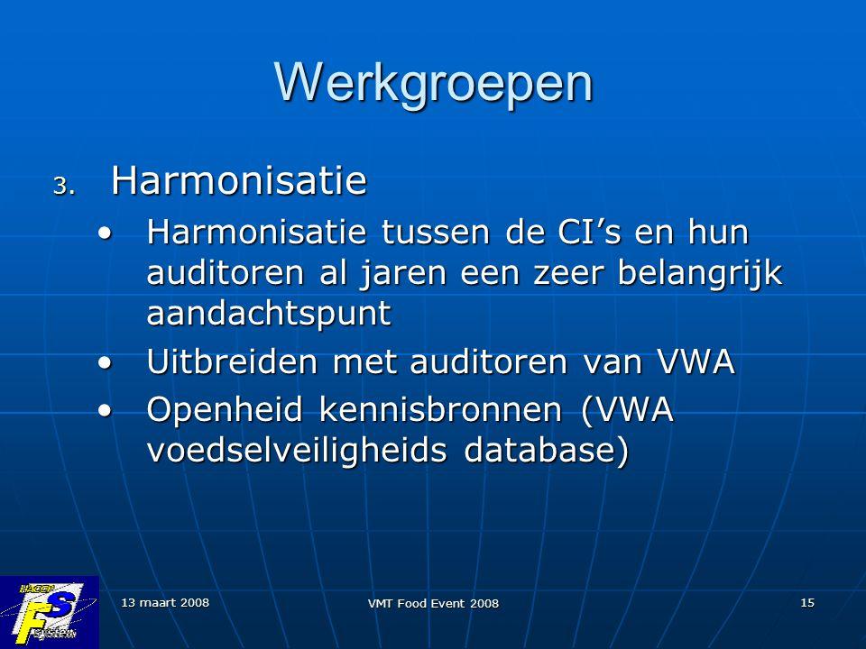 Werkgroepen Harmonisatie