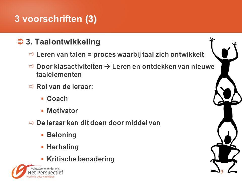 3 voorschriften (3) 3. Taalontwikkeling