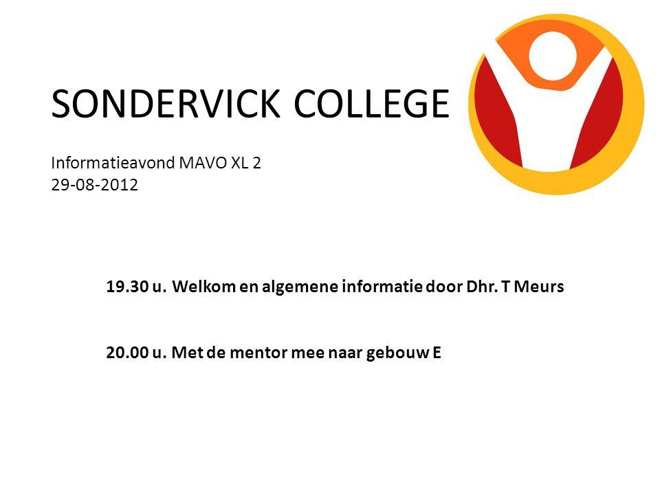 SONDERVICK COLLEGE Informatieavond MAVO XL 2 29-08-2012