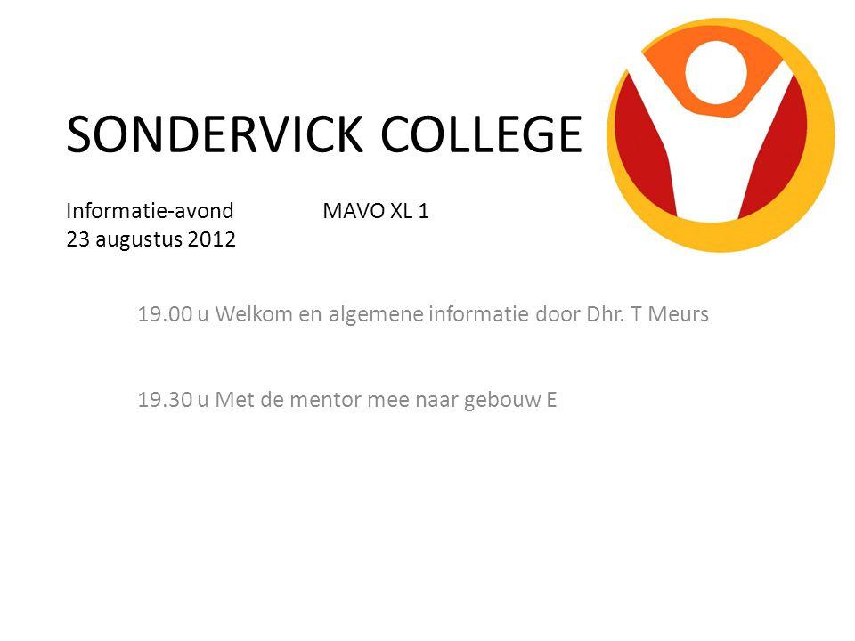 SONDERVICK COLLEGE Informatie-avond MAVO XL 1 23 augustus 2012