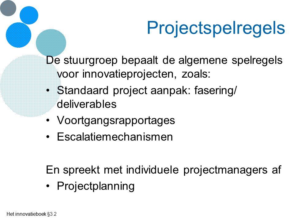 Projectspelregels De stuurgroep bepaalt de algemene spelregels voor innovatieprojecten, zoals: Standaard project aanpak: fasering/ deliverables.