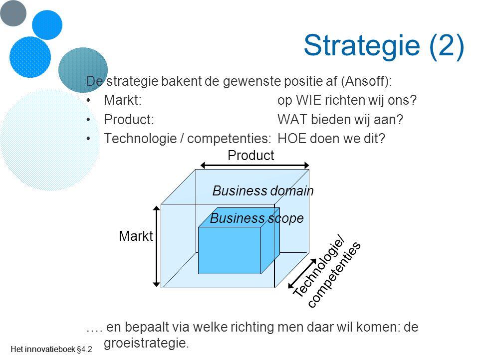 Strategie (2) De strategie bakent de gewenste positie af (Ansoff):