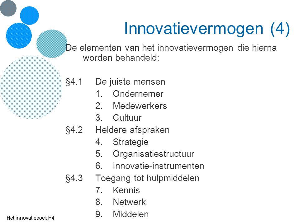 Innovatievermogen (4) De elementen van het innovatievermogen die hierna worden behandeld: §4.1 De juiste mensen.
