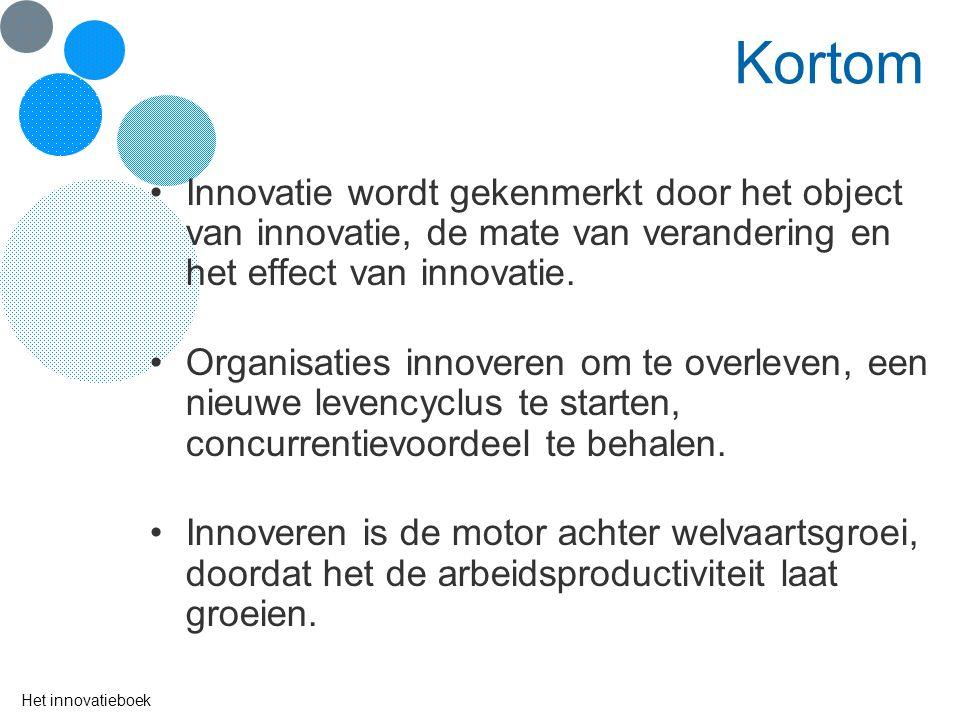 Kortom Innovatie wordt gekenmerkt door het object van innovatie, de mate van verandering en het effect van innovatie.