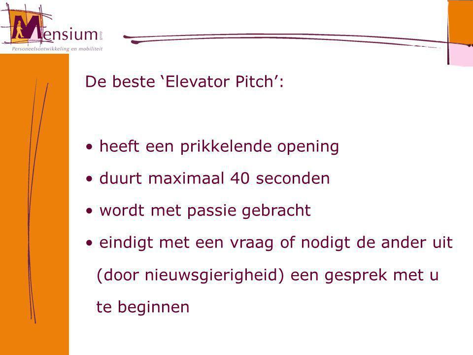 De beste 'Elevator Pitch':