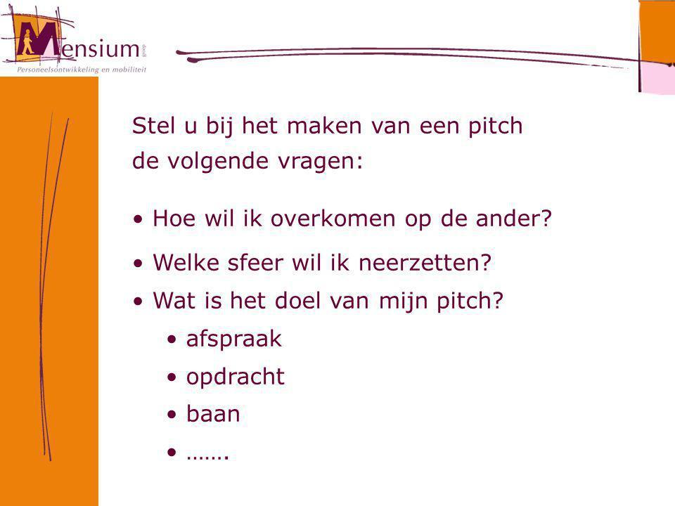 Stel u bij het maken van een pitch