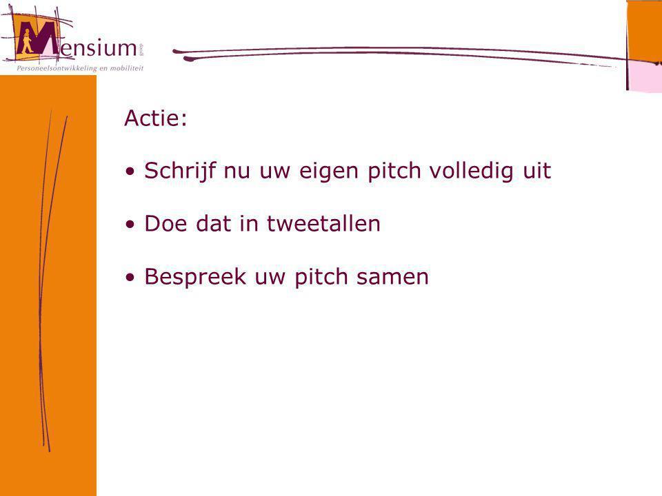 Actie: Schrijf nu uw eigen pitch volledig uit Doe dat in tweetallen Bespreek uw pitch samen