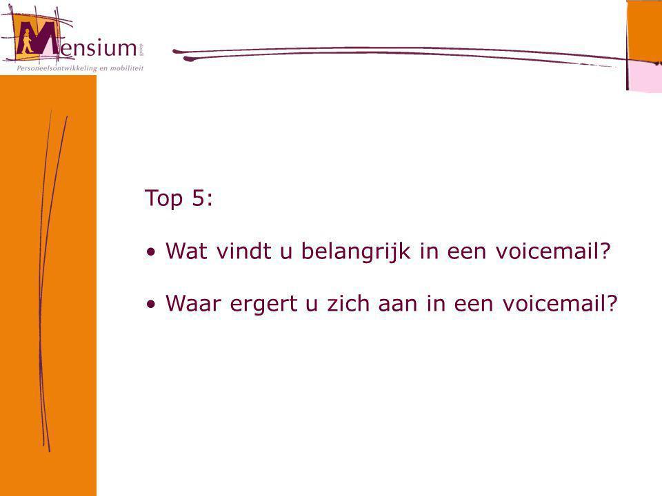 Top 5: Wat vindt u belangrijk in een voicemail Waar ergert u zich aan in een voicemail