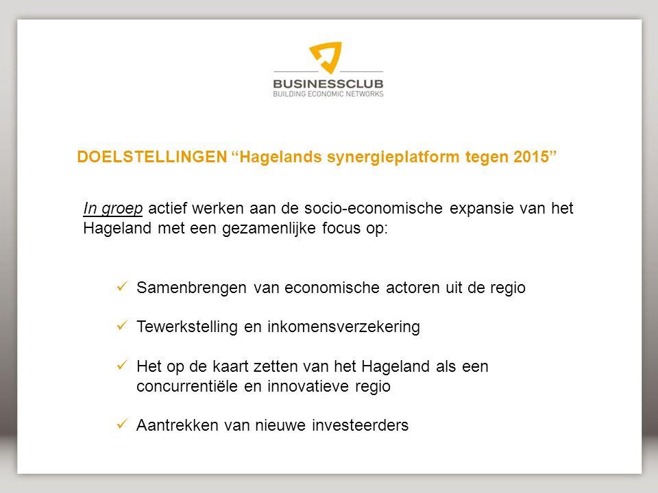 DOELSTELLINGEN Hagelands synergieplatform tegen 2015
