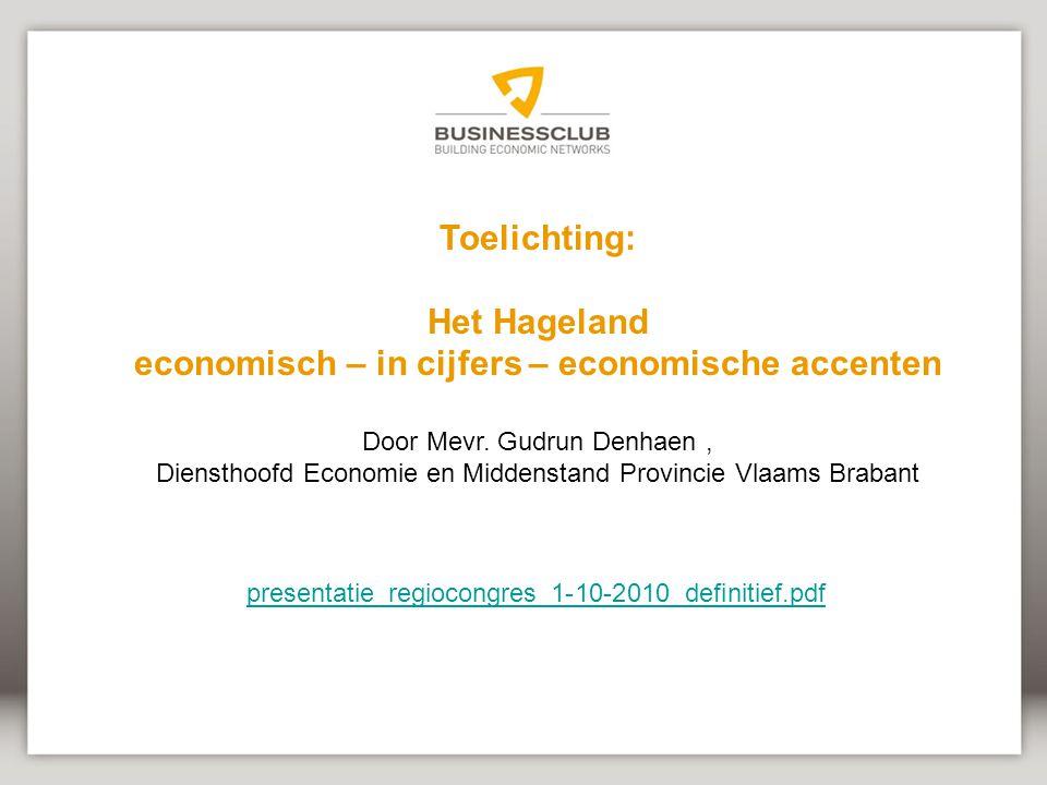 Het Hageland economisch – in cijfers – economische accenten
