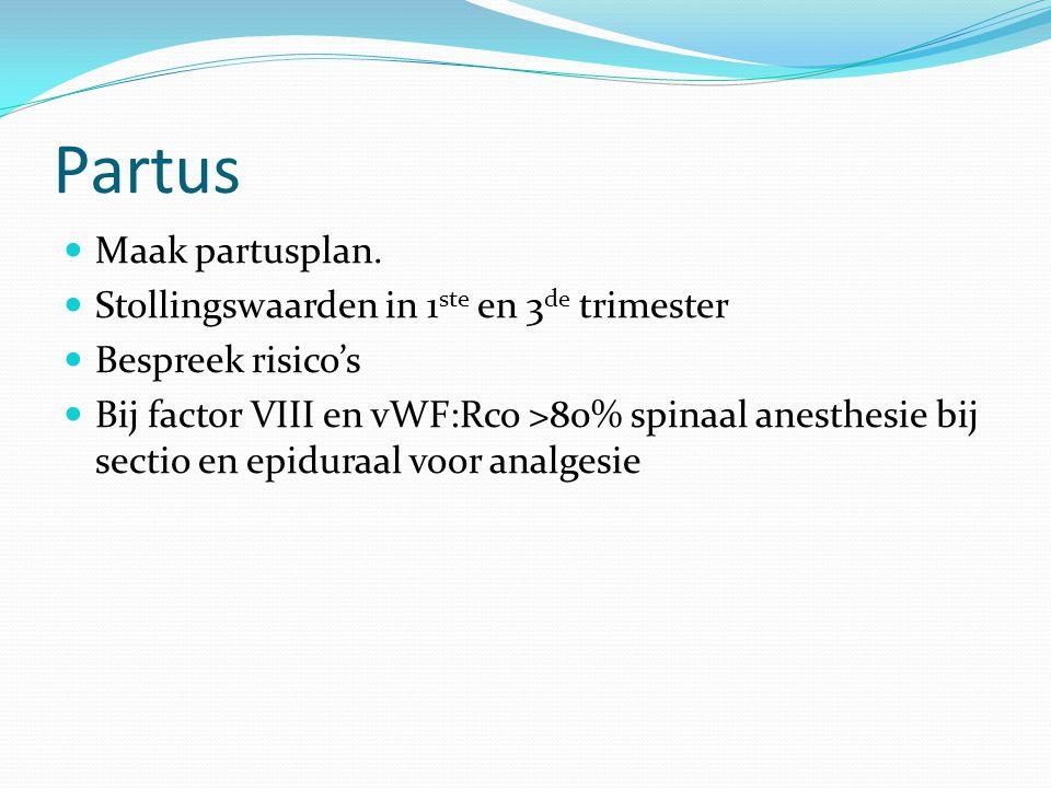 Partus Maak partusplan. Stollingswaarden in 1ste en 3de trimester