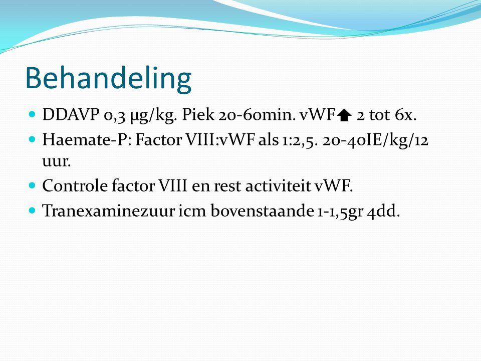 Behandeling DDAVP 0,3 µg/kg. Piek 20-60min. vWF 2 tot 6x.