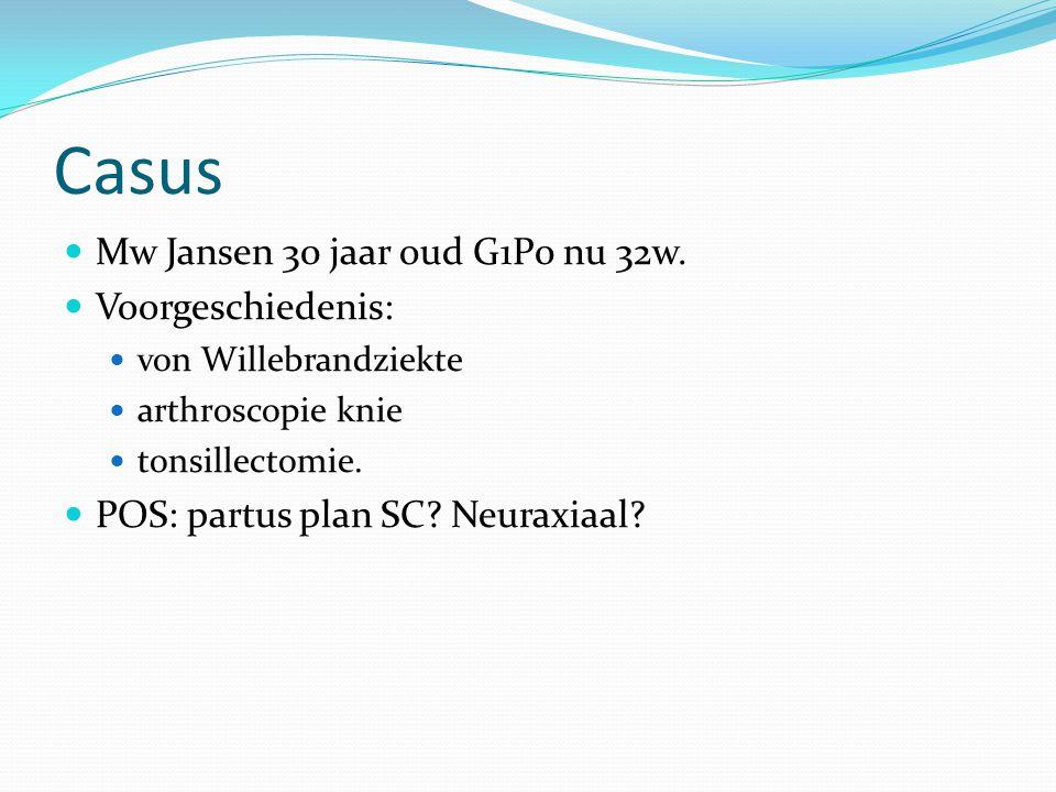 Casus Mw Jansen 30 jaar oud G1P0 nu 32w. Voorgeschiedenis: