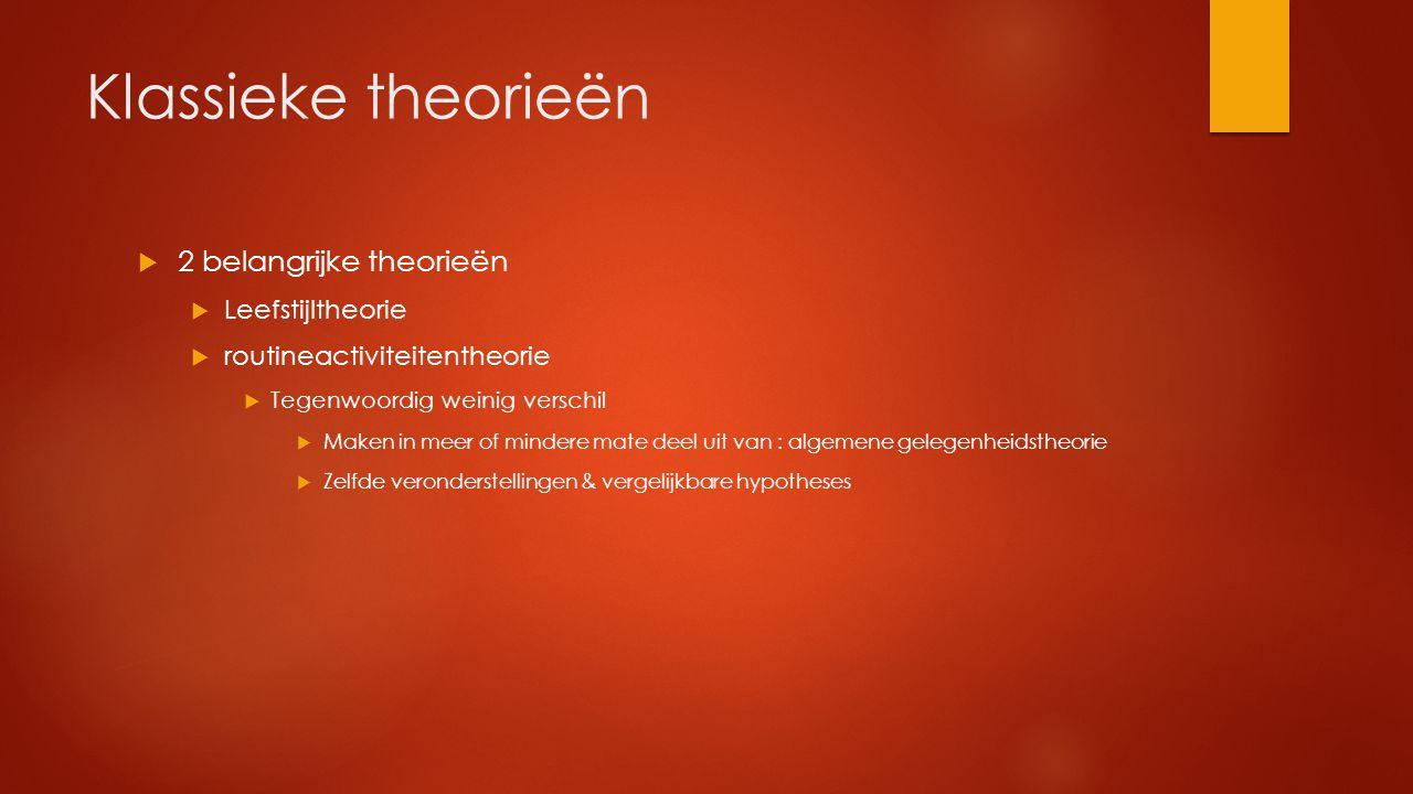 Klassieke theorieën 2 belangrijke theorieën Leefstijltheorie