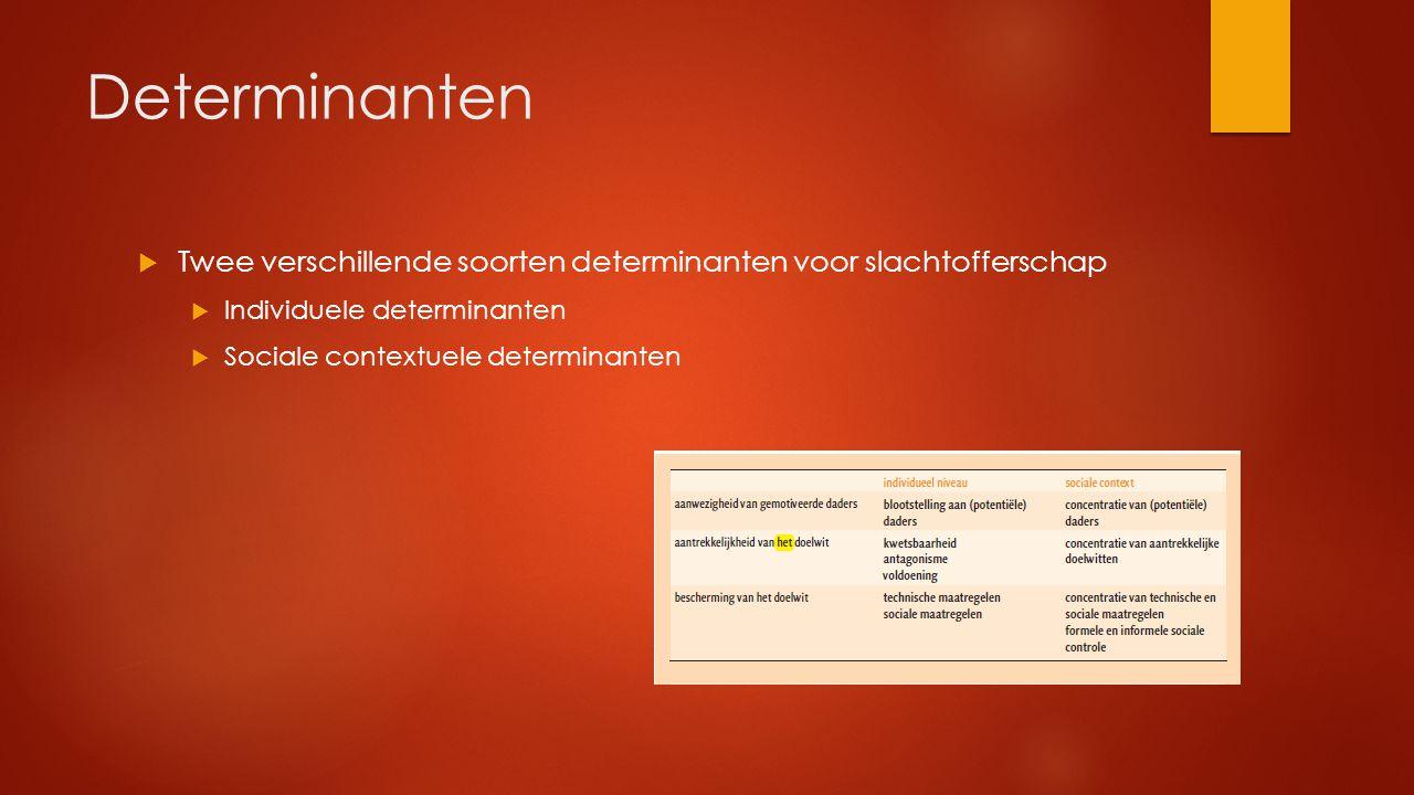 Determinanten Twee verschillende soorten determinanten voor slachtofferschap. Individuele determinanten.