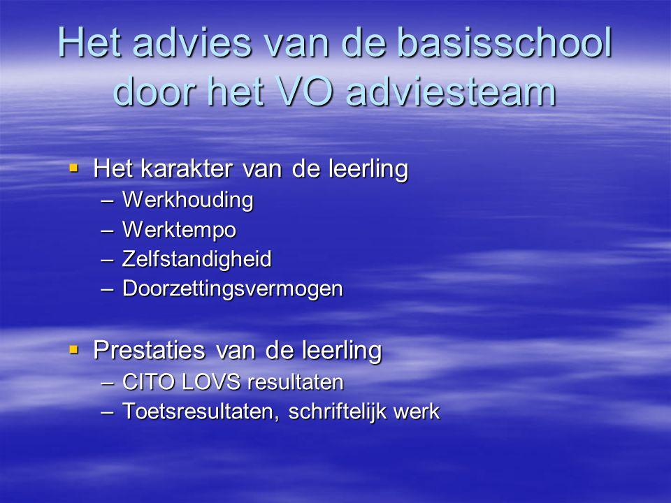 Het advies van de basisschool door het VO adviesteam