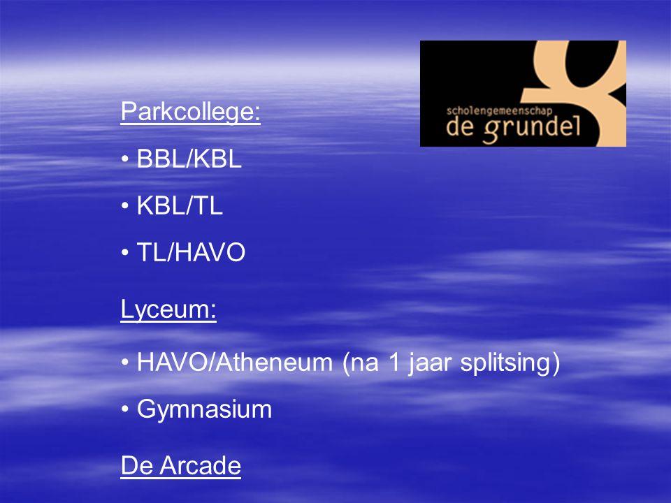 Parkcollege: BBL/KBL KBL/TL TL/HAVO Lyceum: HAVO/Atheneum (na 1 jaar splitsing) Gymnasium De Arcade