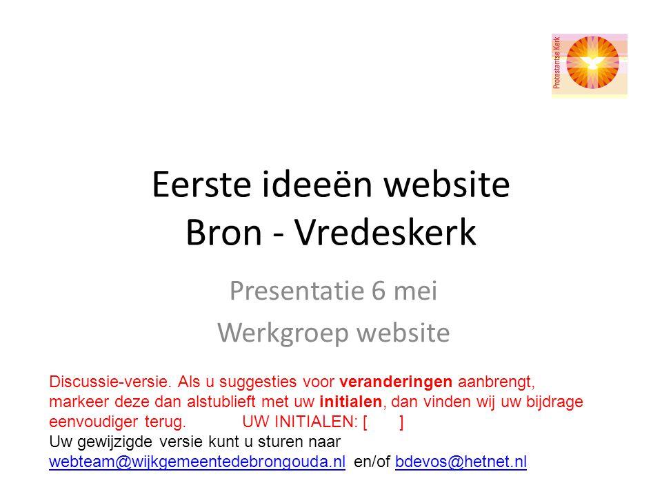Eerste ideeën website Bron - Vredeskerk