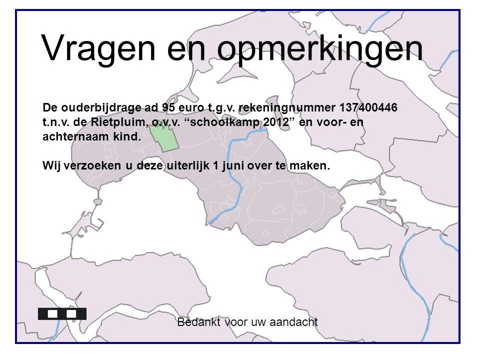 Vragen en opmerkingen De ouderbijdrage ad 95 euro t.g.v. rekeningnummer 137400446.