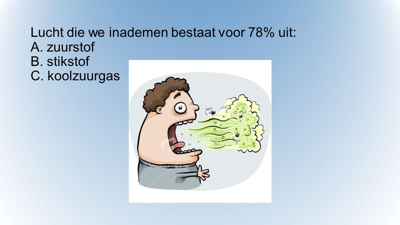 Lucht die we inademen bestaat voor 78% uit: A. zuurstof B. stikstof C