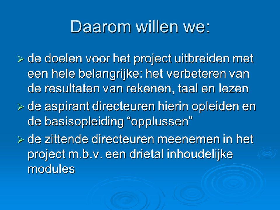 Daarom willen we: de doelen voor het project uitbreiden met een hele belangrijke: het verbeteren van de resultaten van rekenen, taal en lezen.