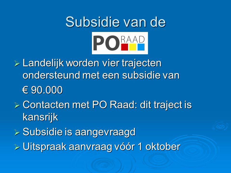 Subsidie van de Landelijk worden vier trajecten ondersteund met een subsidie van. € 90.000. Contacten met PO Raad: dit traject is kansrijk.