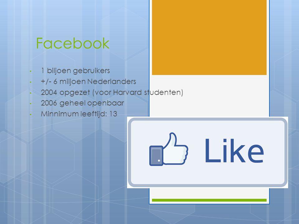 Facebook 1 biljoen gebruikers +/- 6 miljoen Nederlanders