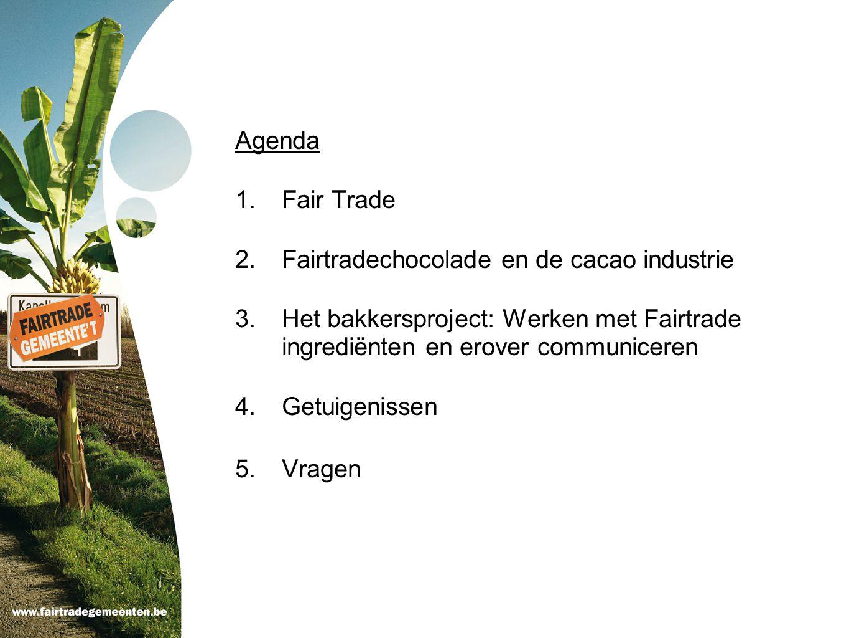 Agenda Fair Trade. Fairtradechocolade en de cacao industrie. Het bakkersproject: Werken met Fairtrade ingrediënten en erover communiceren.