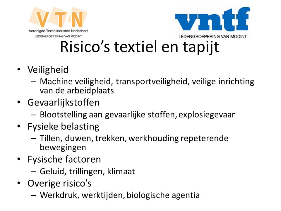 Risico's textiel en tapijt