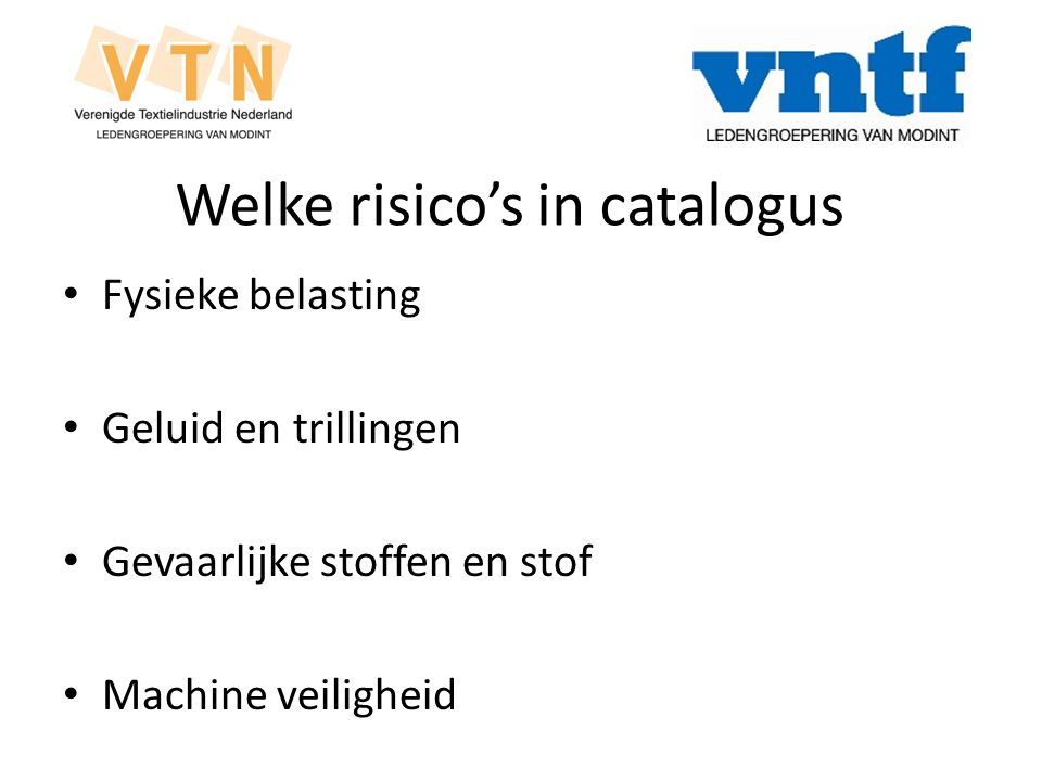 Welke risico's in catalogus