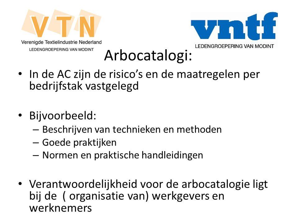 Arbocatalogi: In de AC zijn de risico's en de maatregelen per bedrijfstak vastgelegd. Bijvoorbeeld: