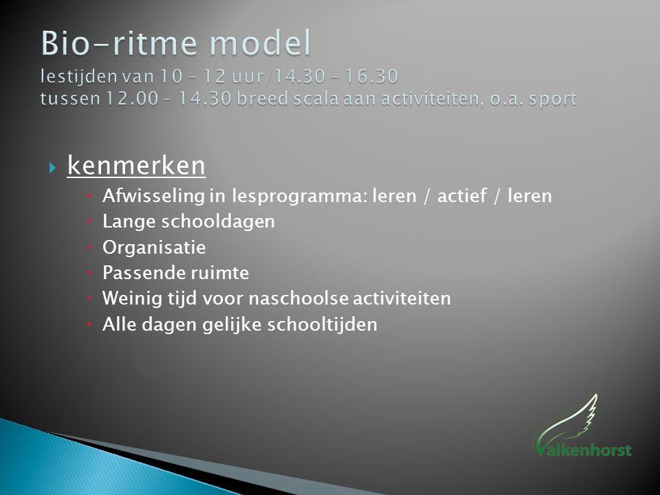Bio-ritme model lestijden van 10 – 12 uur/14. 30 – 16. 30 tussen 12
