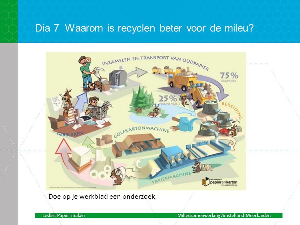 Dia 7 Waarom is recyclen beter voor de mileu