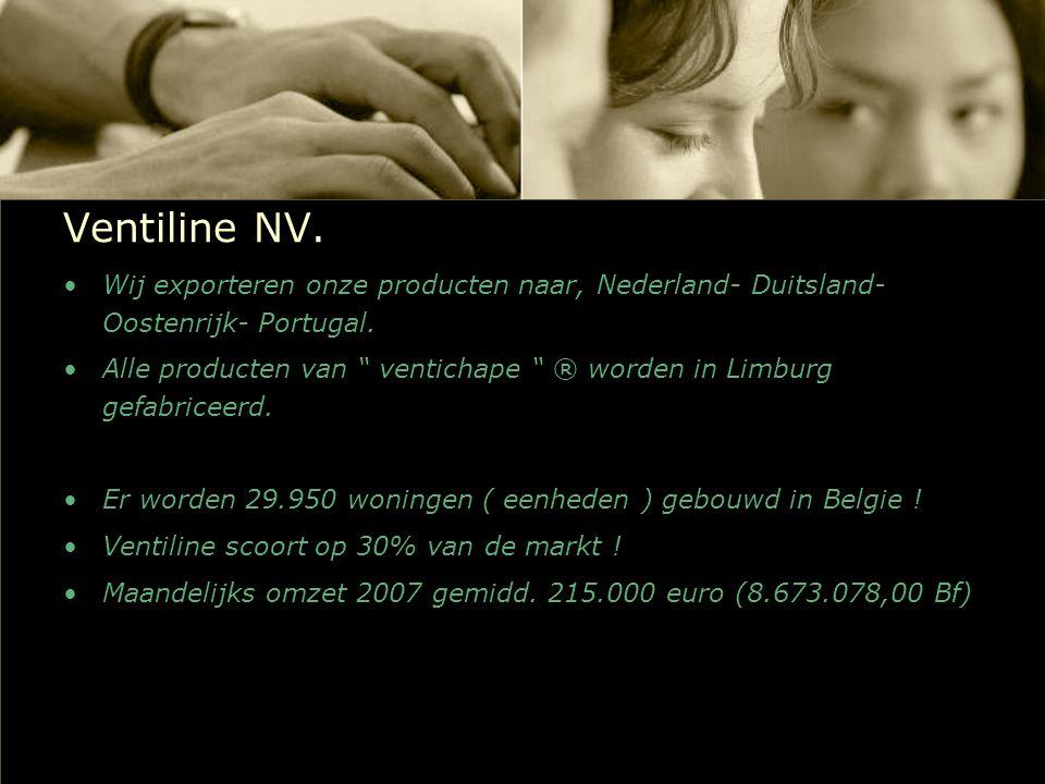Ventiline NV. Wij exporteren onze producten naar, Nederland- Duitsland- Oostenrijk- Portugal.