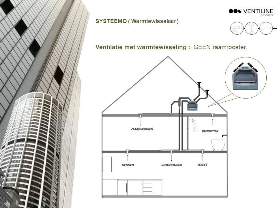 Ventilatie met warmtewisseling : GEEN raamrooster.