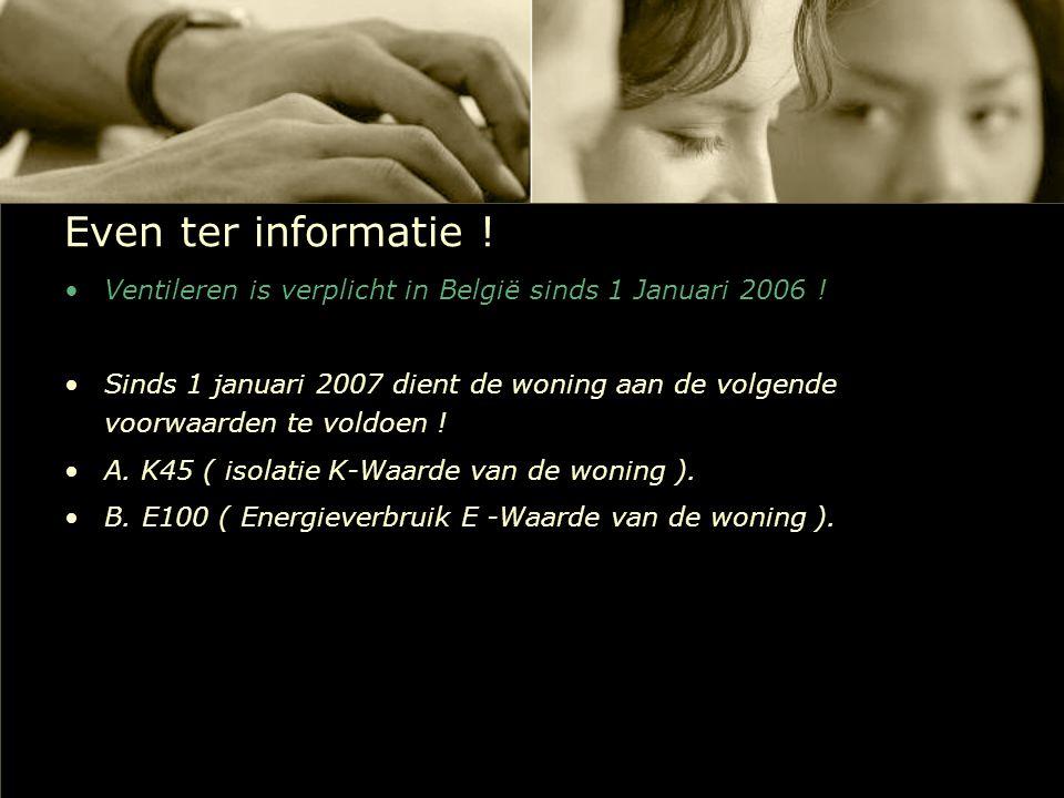 Even ter informatie ! Ventileren is verplicht in België sinds 1 Januari 2006 !