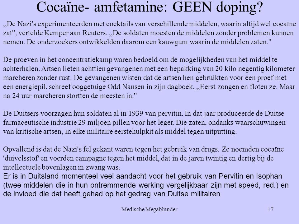 Cocaïne- amfetamine: GEEN doping